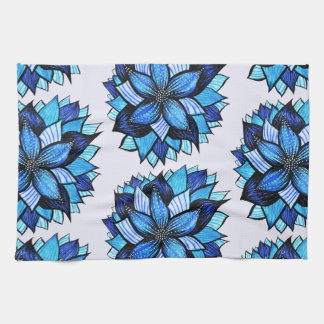 Beautiful Abstract Blue Flower Ink Drawing Pattern Tea Towel