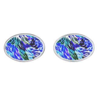 Beautiful Abstract Blue Green White Purple Pattern Silver Finish Cufflinks