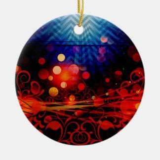 Beautiful Abstract Chevron Light Rays Design Round Ceramic Decoration
