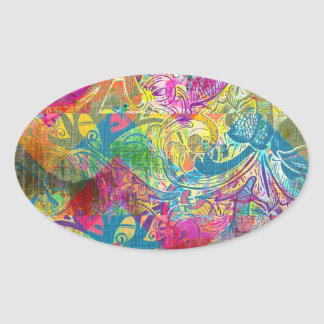 Beautiful Abstract Colorful Floral Swirls Flourish Oval Sticker