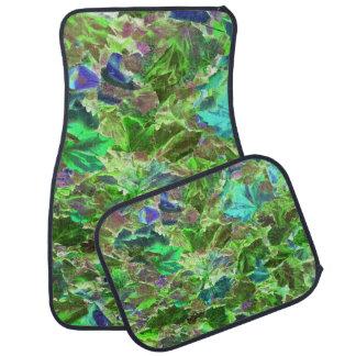 Beautiful Abstract Green Leaves Foliage Car Mat