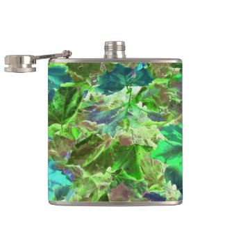 Beautiful Abstract Green Leaves Foliage Hip Flask