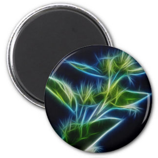 Beautiful Abstract Teal Lime Green Flower Art 6 Cm Round Magnet