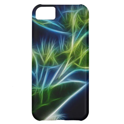 Beautiful Abstract Teal Lime Green Flower Art Cover For iPhone 5C