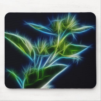 Beautiful Abstract Teal Lime Green Flower Art Mouse Pads