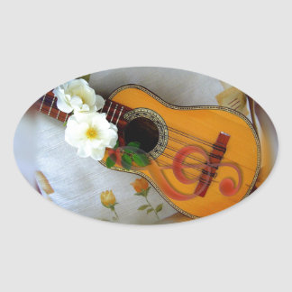 Beautiful acoustic guitar music note oval sticker