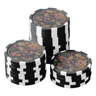 Beautiful aerial view of autumn color forest poker chips
