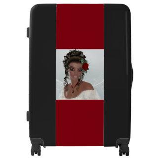 Beautiful African American Woman Large Luggage