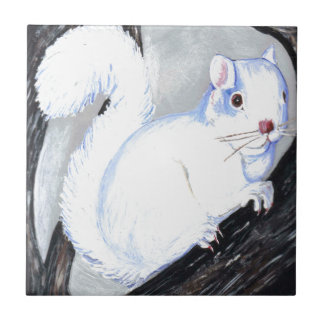 Beautiful Albino Squirrel Small Square Tile