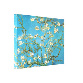 Beautiful almond blossom antique painting blue gre gallery wrapped canvas