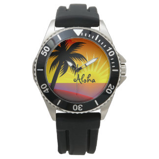 Beautiful Aloha Tropical Sunset Wrist Watches
