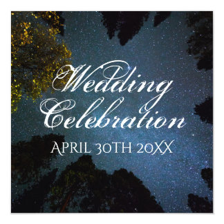 Beautiful Alpine Forest Under Stars Wedding Card