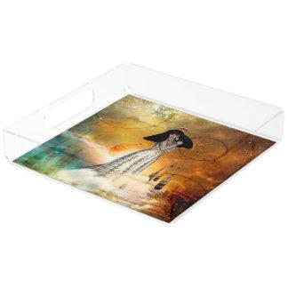 Beautiful amarican indian acrylic tray