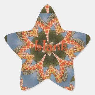 Beautiful amazing African colorful Giraffe blank Star Sticker