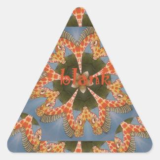 Beautiful amazing African colorful Giraffe blank Triangle Sticker