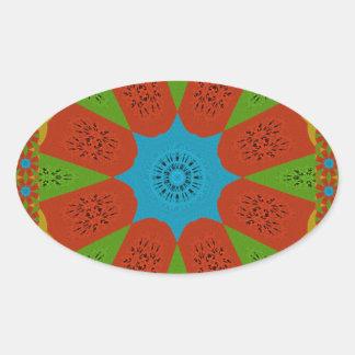 Beautiful Amazing African Feminine Design Colors. Oval Sticker