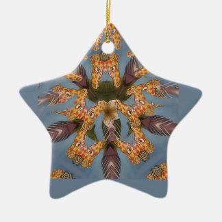 Beautiful amazing Funny African Giraffe pattern de Ceramic Star Decoration