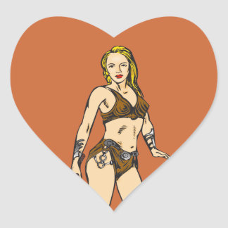 Beautiful Amazon Women Heart Sticker