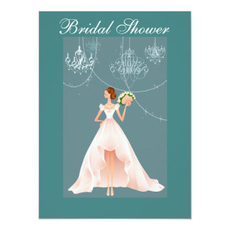 "Beautiful and Blue Bridal Shower Invitation 5.5"" X 7.5"" Invitation Card"