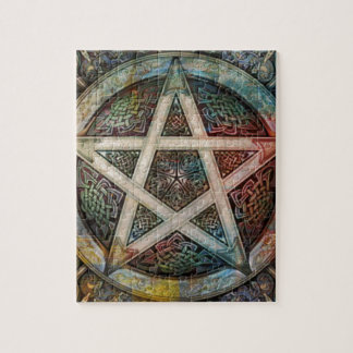 Beautiful And Colorful Pagan Pentacle Jigsaw Puzzle