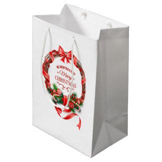 Beautiful and Elegant Christmas Wreath Gift Bag