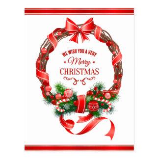 Beautiful and Elegant Christmas Wreath Postcard