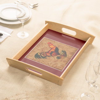 Beautiful and Elegant Country Rooster Serving Tray