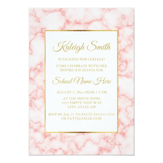 Beautiful and Elegant Pink Marble Gold Trunk Party Card