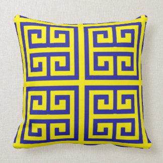 Beautiful and Modern Blue Yellow Greek Key Pattern Throw Pillow