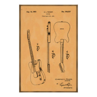 Beautiful and Unique Electric Guirat Patent Print