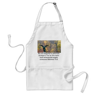 Beautiful angel in autumn woods setting apron