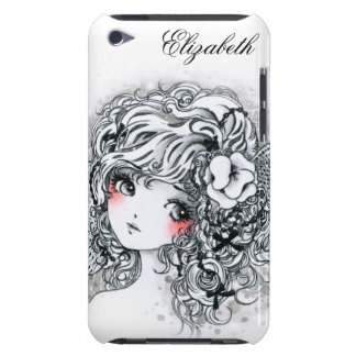 Beautiful anime girl in black and white barely there iPod cases