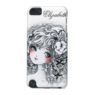 Beautiful anime girl in black and white iPod touch (5th generation) case