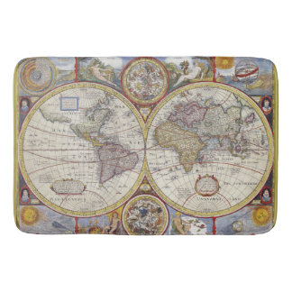 Beautiful Antique and Vintage old world Map Bath Mats