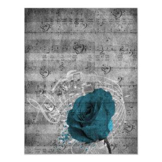 Beautiful antique blue rose paint splatter music 11 cm x 14 cm invitation card