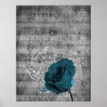 Beautiful antique blue rose paint splatter music posters