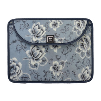 Beautiful Antique Colonial Blue Floral Pattern MacBook Pro Sleeves