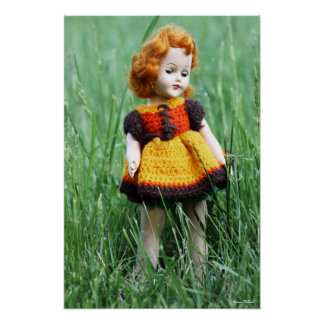 Beautiful Antique Doll with Old Crochet Dress Poster