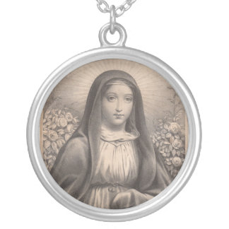 Beautiful Antique French Image of the Holy Virgin Round Pendant Necklace