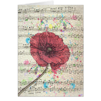 Beautiful antique poppy flower music notes