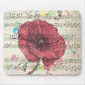 Beautiful antique poppy flower music notes mouse pad