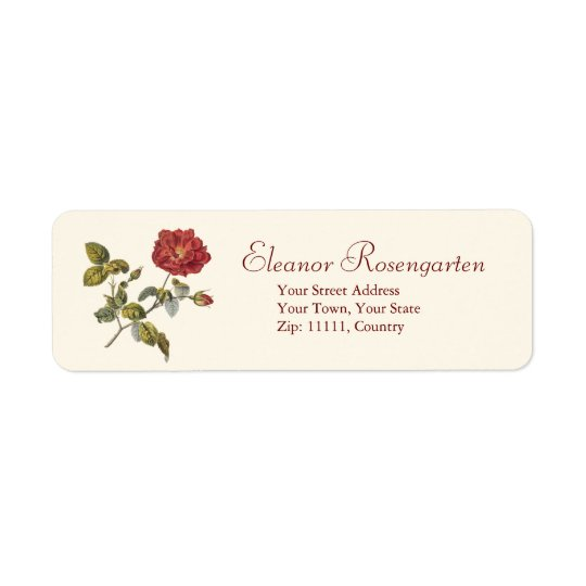 Beautiful Antique Wild Red French Rose Return Address Label