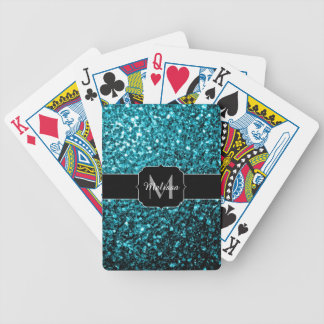 Beautiful Aqua blue glitter sparkles Monogram Bicycle Playing Cards