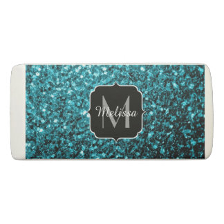 Beautiful Aqua blue glitter sparkles Monogram Eraser