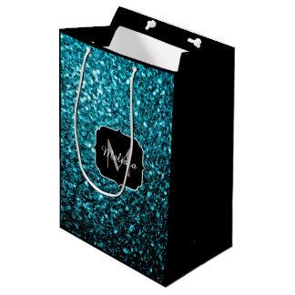 Beautiful Aqua blue glitter sparkles Monogram Medium Gift Bag
