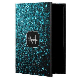 Beautiful Aqua blue glitter sparkles Monogram Powis iPad Air 2 Case