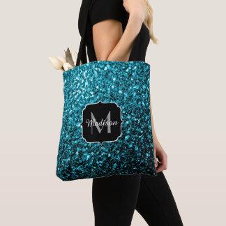 Beautiful Aqua blue glitter sparkles Monogram Tote Bag