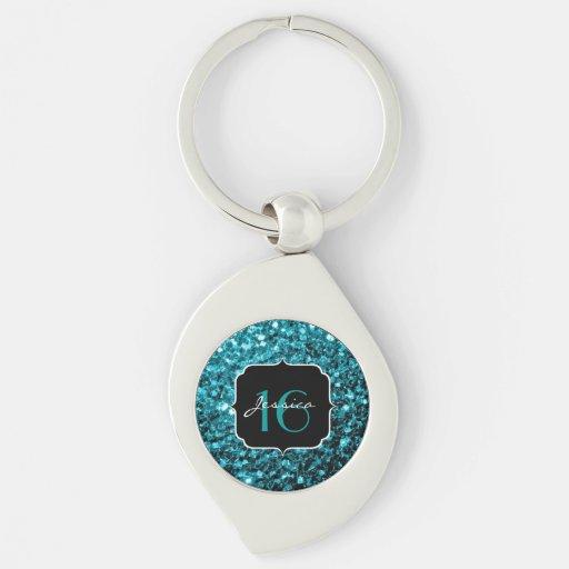 Beautiful Aqua Blue sparkles Sweet 16 keychain Keychains