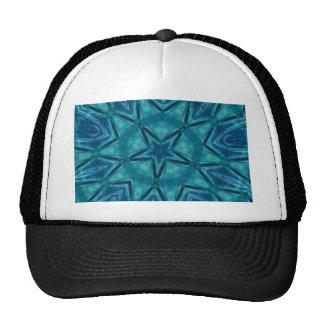 Beautiful Aquamarine Star Shaped Mandela Pattern Cap