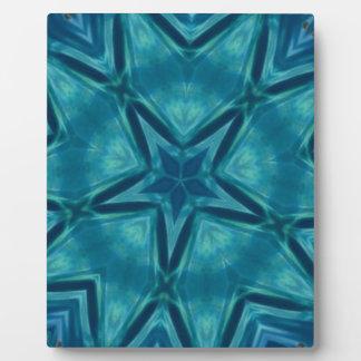 Beautiful Aquamarine Star Shaped Mandela Pattern Display Plaque